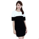 Đầm suông phối đen trắng