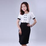 Đầm công sở trắng phối đen