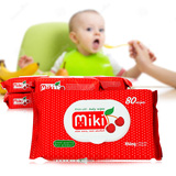 6 gói giấy ướt Miki không cồn mùi dâu - Loại 80 tờ