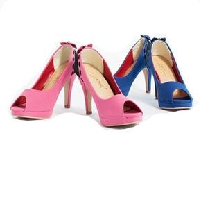 Giày cao gót phối màu đính nơ