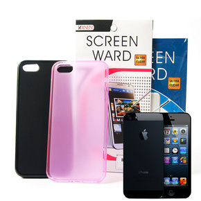 Miếng dán màn hình + Ốp lưng silicon Iphone 5