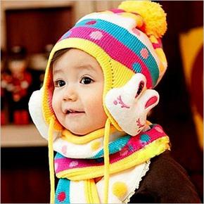 Bộ mũ len tai thỏ kèm khăn xinh xắn cho bé yêu