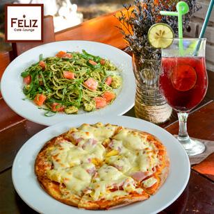 Pizza Hawaii + gà đút lò/mì Ý + sinh tố + mocktail