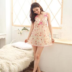 Váy Ngủ Thun Lưới Chấm Hoa + Quần Chip