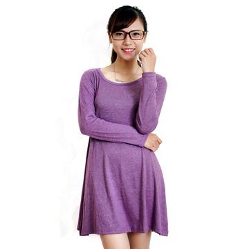 Váy thun len dài tay Hàn Quốc thanh lịch