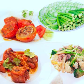 Cơm trưa + Buffet rau + trái cây + nước uống