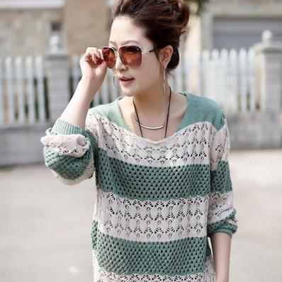 Áo len móc color phối màu