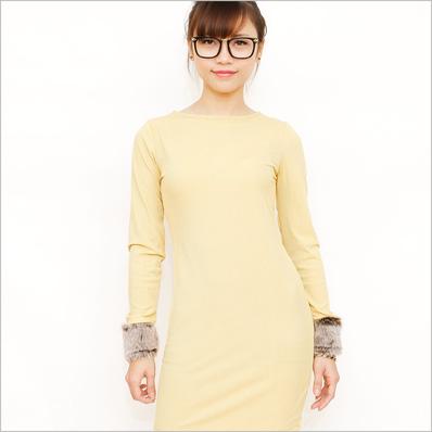 Váy thun tay phối lông điệu đà