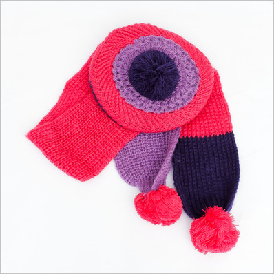 Bộ khăn và mũ nồi len xinh xắn cho bé gái