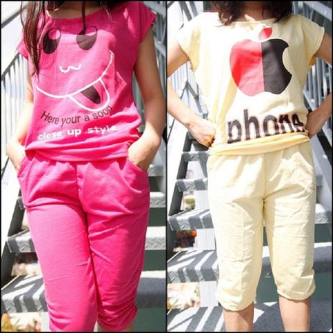 Đồ bộ thun lửng mặc nhà họa tiết đáng yêu - Cho bạn gái vẻ dễ thương và thoải mái hoạt động - Chỉ 80.000đ/01 bộ