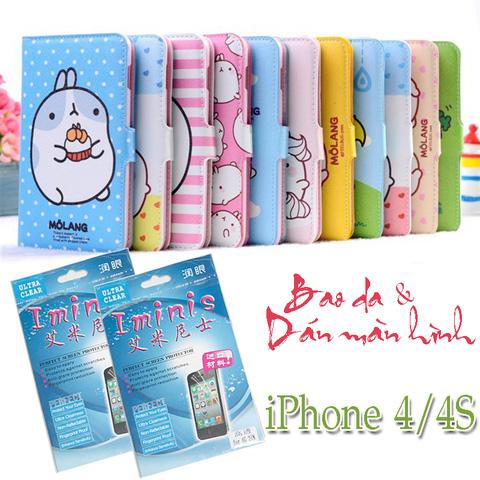 Bao da + Miếng dán màn hình cho iPhone 4/4S