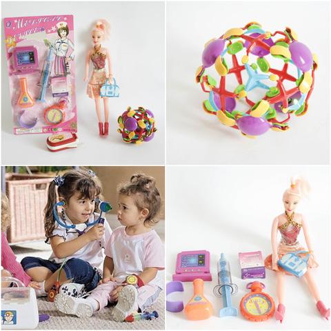Bộ đồ chơi cho bé gái (vỉ đồ chơi đồ dùng bác sĩ + bóng biến hình + điện thoại 3 nút bấm + búp bê nhỏ)