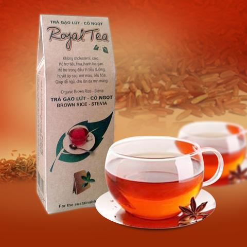03 túi Trà gạo lứt - cỏ ngọt Royal Tea