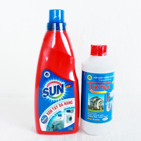 Kem tẩy đa năng Sun + Hợp chất thông cống Tiktak