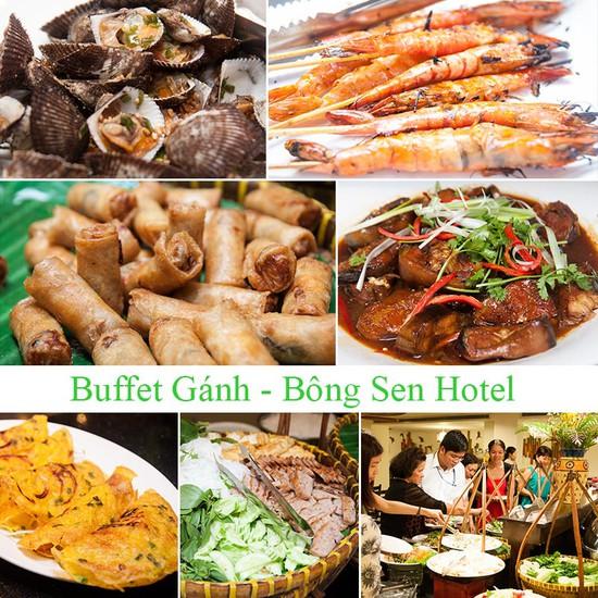 Buffet Gánh dành cho buổi trưa tại Khách sạn Bông Sen Quận 1 với hơn 40 món ăn đặc sắc 3 miền - Chỉ 163.00đ/ 1 người