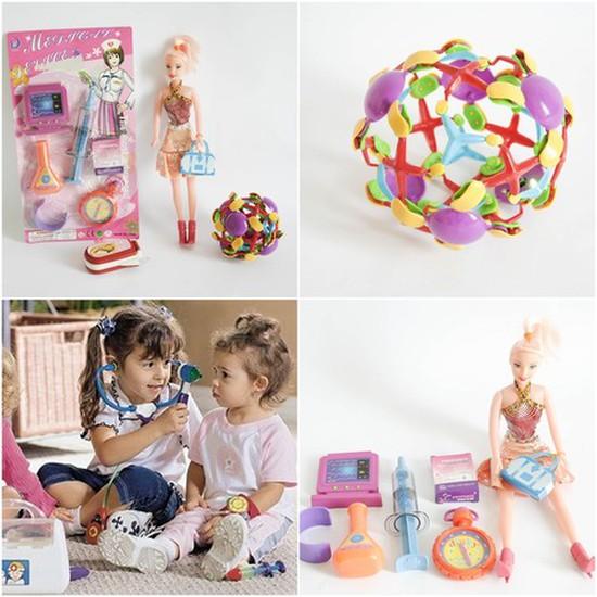 Bộ đồ chơi cho bé gái (vỉ đồ chơi đồ dùng bác sĩ + bóng biến hình + điện thoại 3 nút bấm + búp bê nhỏ) (32016)