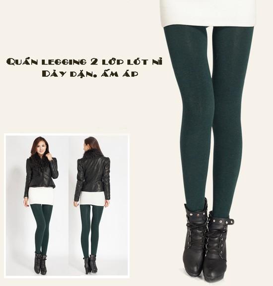 Com bo 2 Quần legging lót nỉ dẫm gót hoặc cổ chân