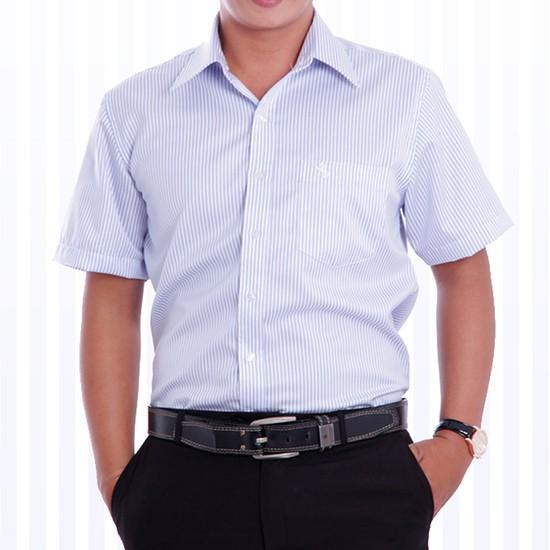 Áo sơ mi nam cao cấp xuất khẩu Michio tay ngắn sọc xanh trắng