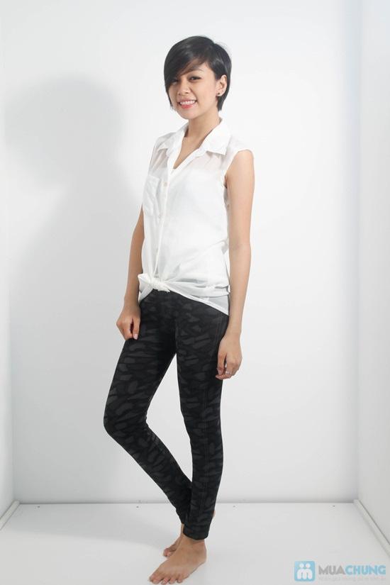 Quần legging giả jean hoa form dài - Phong cách sành điệu và độc đáo cho bạn gái - Chỉ 60.000đ/01 chiếc - 3