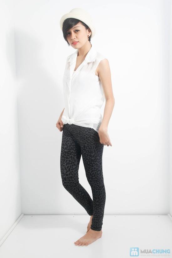 Quần legging giả jean hoa form dài - Phong cách sành điệu và độc đáo cho bạn gái - Chỉ 60.000đ/01 chiếc - 1