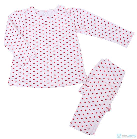 Bộ quần áo cho bé gái hình tim chất liệu cotton co giãn - 1