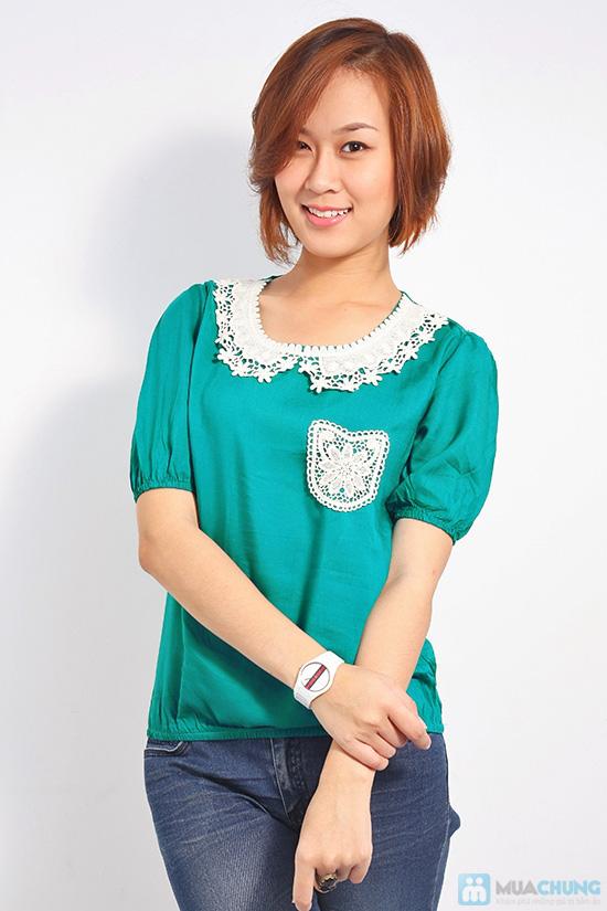 Trẻ trung và nữ tính với áo sơ mi cổ ren xinh xắn dành cho bạn gái - Chỉ 85.000đ/01 chiếc - 2