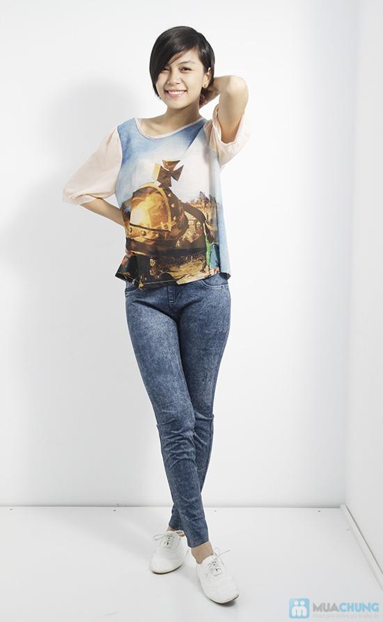 Quần legging dài giả jean cực chất - Bạn gái sành điệu và cá tính - Chỉ 75.000đ/01 chiếc - 2