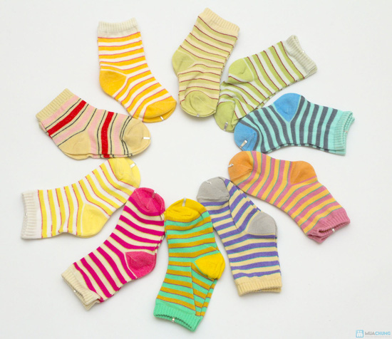 Combo 10 đôi tất kẻ sọc dành cho bé yêu từ sơ sinh đến 1 tuổi - 4