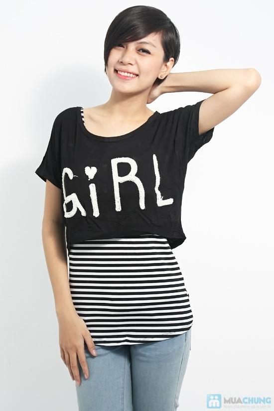 Combo áo lửng Crop top và áo sọc bên trong phong cách cho bạn gái - Chỉ 89.000đ/01 combo - 4