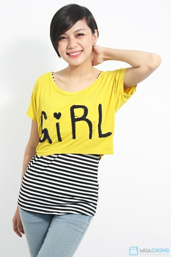 Combo áo lửng Crop top và áo sọc bên trong phong cách cho bạn gái - Chỉ 89.000đ/01 combo - 1