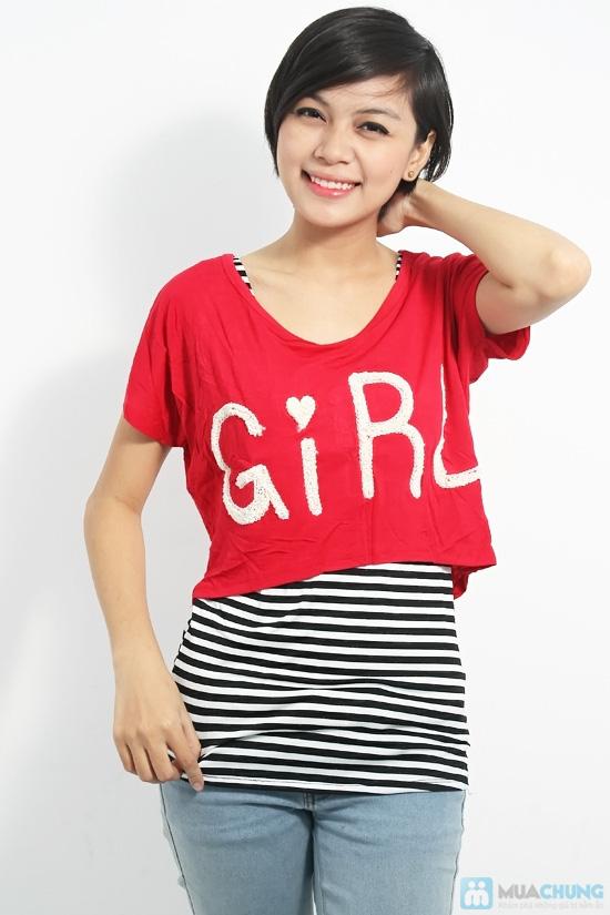 Combo áo lửng Crop top và áo sọc bên trong phong cách cho bạn gái - Chỉ 89.000đ/01 combo - 3