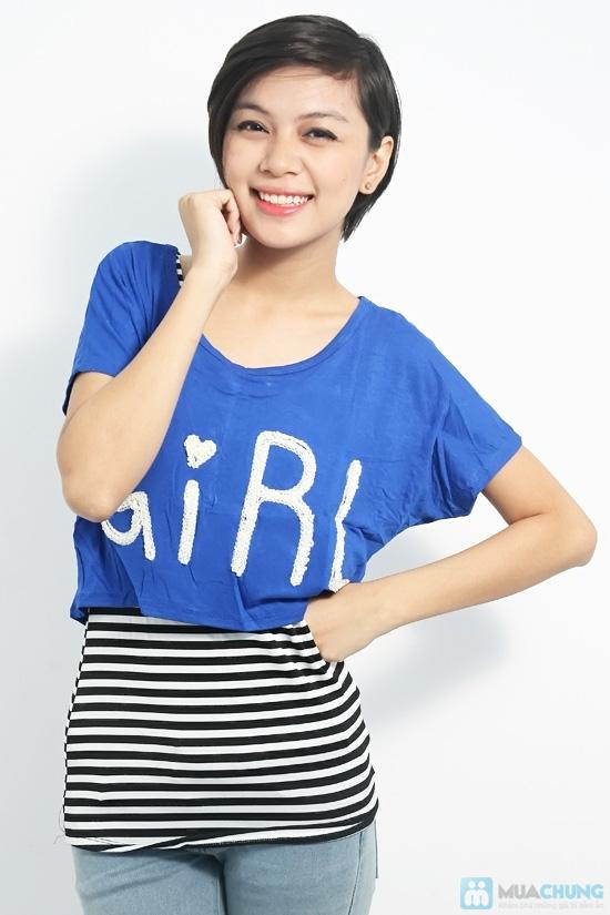 Combo áo lửng Crop top và áo sọc bên trong phong cách cho bạn gái - Chỉ 89.000đ/01 combo - 2