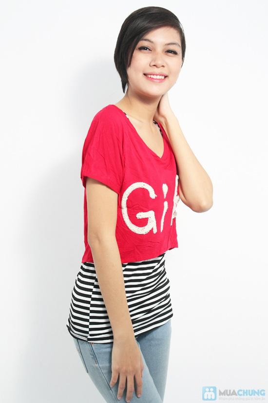 Combo áo lửng Crop top và áo sọc bên trong phong cách cho bạn gái - Chỉ 89.000đ/01 combo - 9