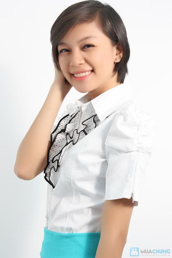 Xinh xắn với áo sơ mi trắng, bèo giữa ngực cho nữ - Bạn gái trẻ trung, dễ thương - Chỉ 80.000đ/01 chiếc - 4