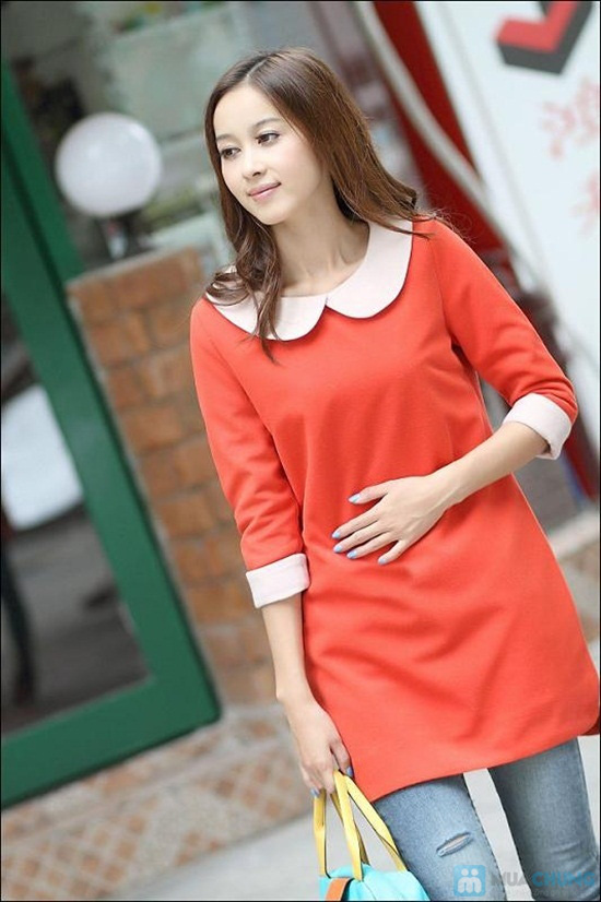 Đầm dài tay màu đỏ cam xinh xắn dành cho bạn gái - Chỉ 135.000đ/01 chiếc - 9