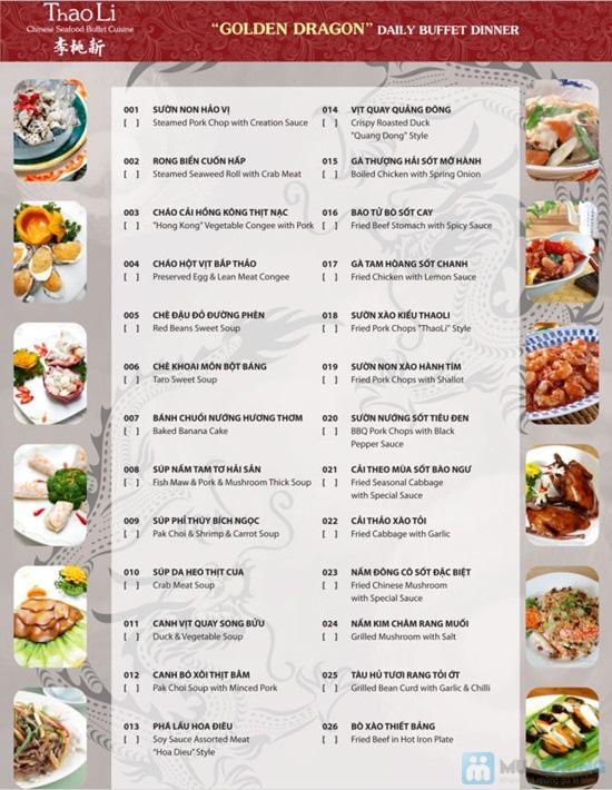Buffet tối tại nhà hàng Trung Hoa Thaoli - Chỉ với 464.000đ/ 01 người - 2