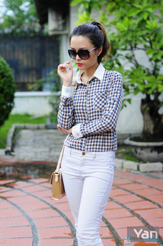 Tự tin khoe cá tính với áo sơ mi nữ sọc caro Yan Fashion - Chỉ 129.000đ/01 Chiếc - 5
