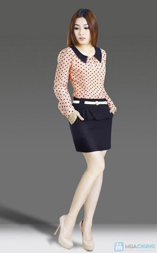 Đầm voan chấm bi tay dài - Tôn vẻ dịu dàng cho bạn gái - Chỉ với 159.000đ/ 01 chiếc - 4