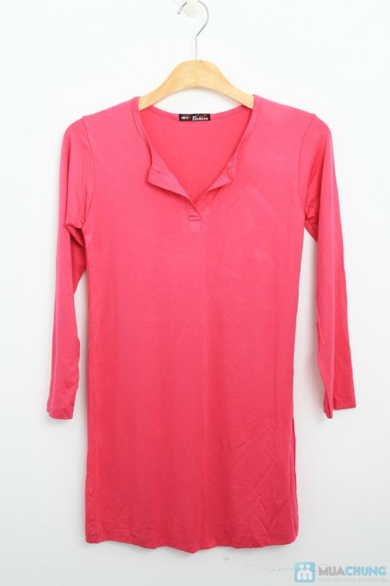 Đầm thun hồng cổ chữ V - Chỉ 130.000đ - 1