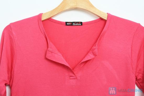 Đầm thun hồng cổ chữ V - Chỉ 130.000đ - 2