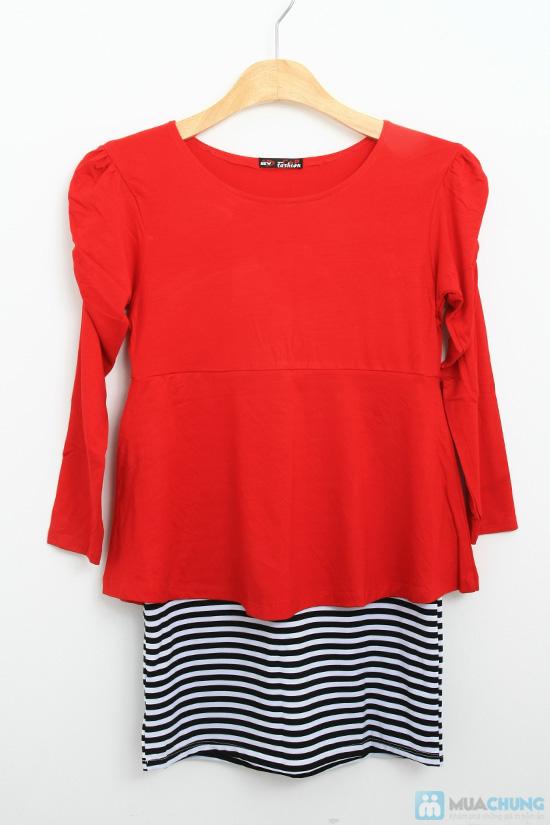 Đầm đỏ phối sọc - Nổi bật với đêm noel - Chỉ với 135.000đ/ 01 chiếc - 4