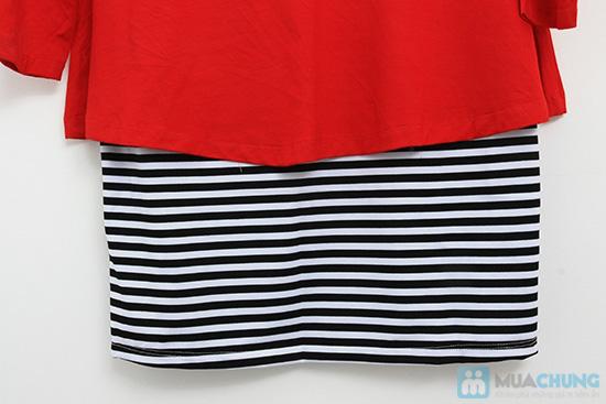 Đầm đỏ phối sọc - Nổi bật với đêm noel - Chỉ với 135.000đ/ 01 chiếc - 6