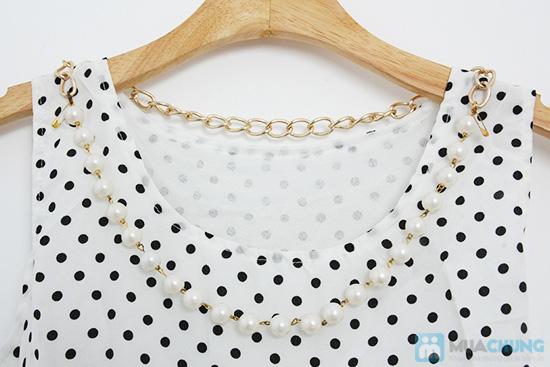 Dịu dàng và tươi tắn với đầm voan chấm bi dây đeo ngọc trai - Chỉ 105.000đ/01 chiếc - 7