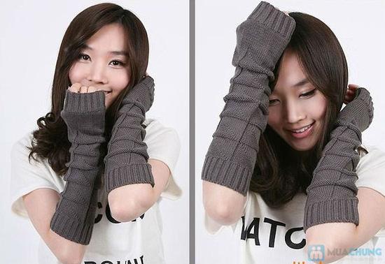 Găng tay len dài hở ngón cá tính - 6