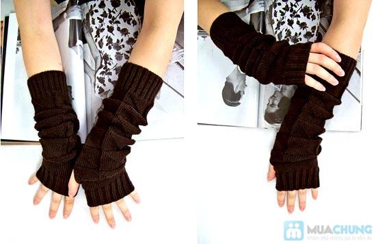 Găng tay len dài hở ngón cá tính - 3