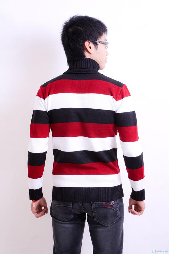 Combo 2 áo len kẻ cao cổ cho nam - 3