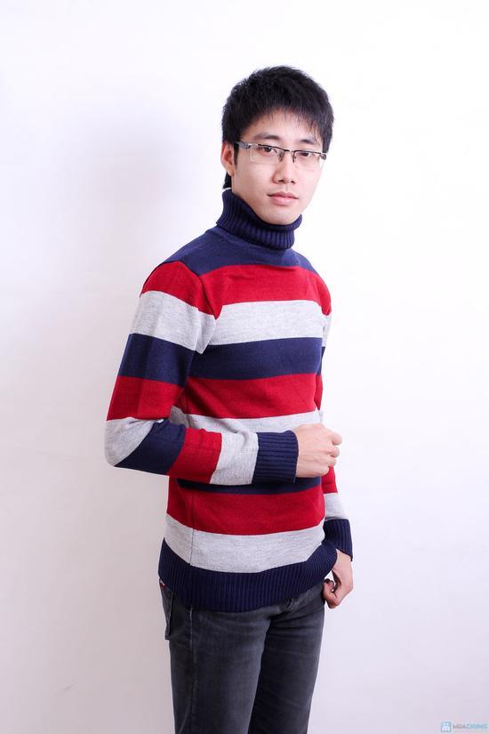 Combo 2 áo len kẻ cao cổ cho nam - 5