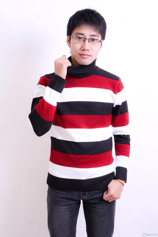 Combo 2 áo len kẻ cao cổ cho nam - 2