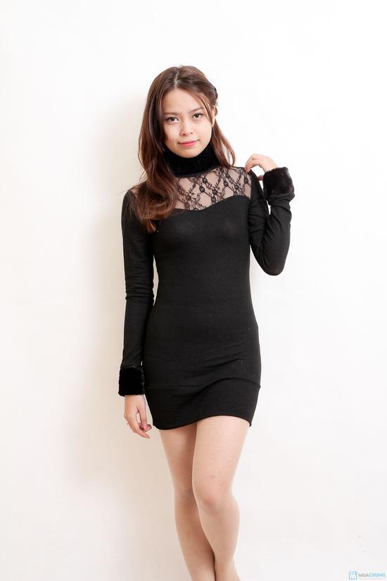 Áo váy cổ lọ tay lông xinh xắn - 2