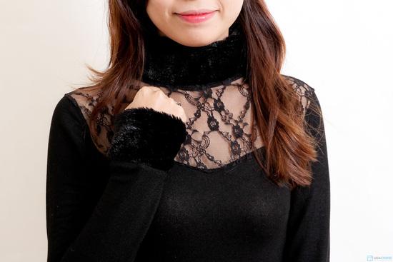 Áo váy cổ lọ tay lông xinh xắn - 3
